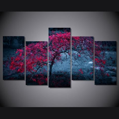 5 Pieces Tree Light Purple Autumn Wall Art