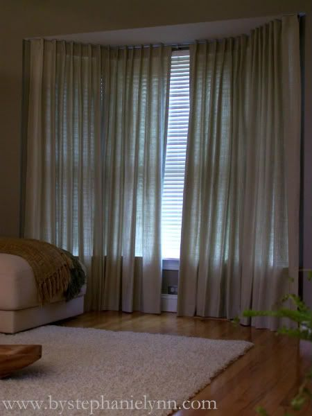 make your own bay window curtain rod window treatments for our bay windows diy bay window