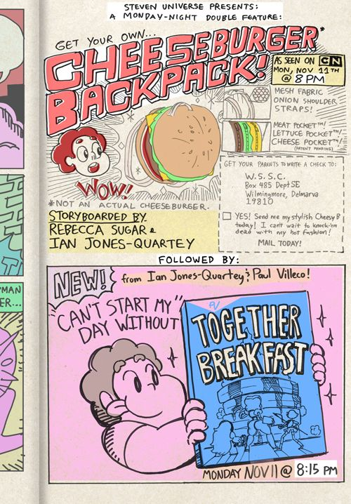 Coming this Monday at 8! TWO new Steven Universe episodes!!!! Cheeseburger Backpack and Together Breakfast! Supervising Director Ian Jones-Q...