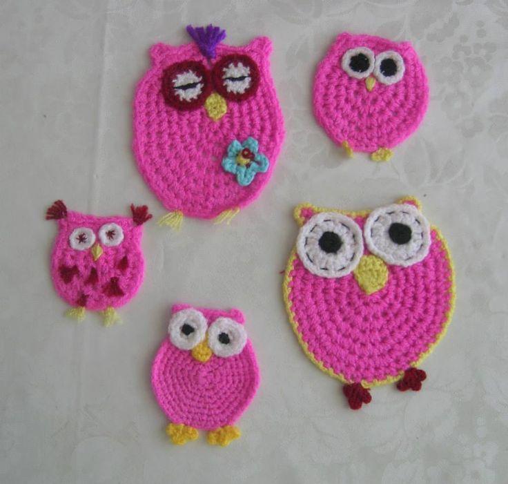 --  Pink pink crocheted owl --   Rosa rosa gehäkelte Eulen  --   Pembe pembe tığ işi baykuşlar -- original design */* Hippie - Bohemian - shabby