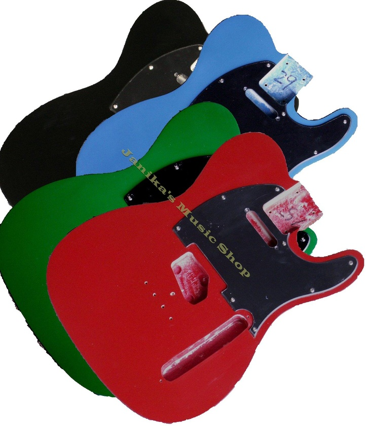 A selection of telecaster guitar bodies finished in various colours. Includes a telecaster pickguard. Other elctric guitar parts such as telecaster pickups, telecaster bridge, telecaster controls etc.. are also available individually or as a kit from www.janika.co.uk. If you want to build an electric guitar, build a telecaster guitar or any other guitar this is the place to start you search for competitively priced guitar parts.