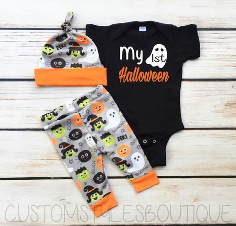 Baby Boy Coming Home Outfit, First Halloween Outfit, Black Infant Bodysuit, Grey And Orange Leggings And Hat, Baby Boy Halloween Outfit Set by CustomStylesBoutique on Etsy https://www.etsy.com/listing/477140451/baby-boy-coming-home-outfit-first