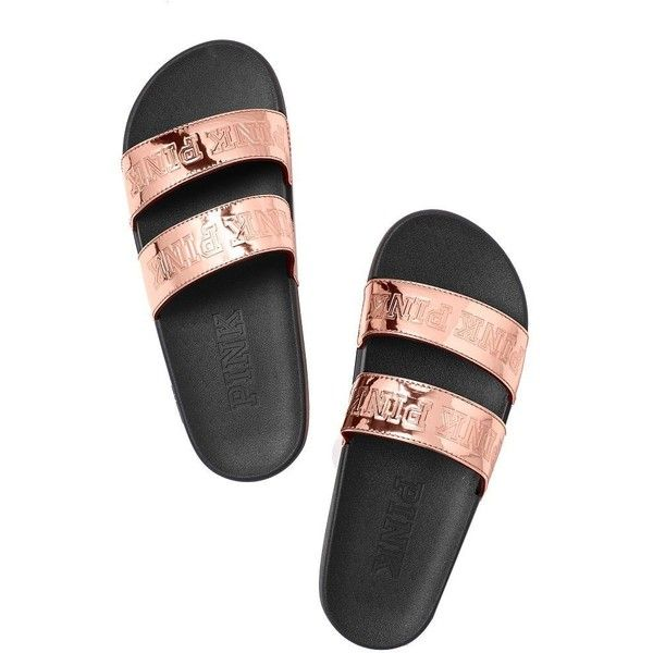 Victoria's Secret PINK Double Strap Slide Sandals Rose Gold Small 5/6 ($78) ❤ liked on Polyvore featuring shoes, sandals, wide fit sandals, wide sandals, wide shoes, slide sandals and wide fit shoes