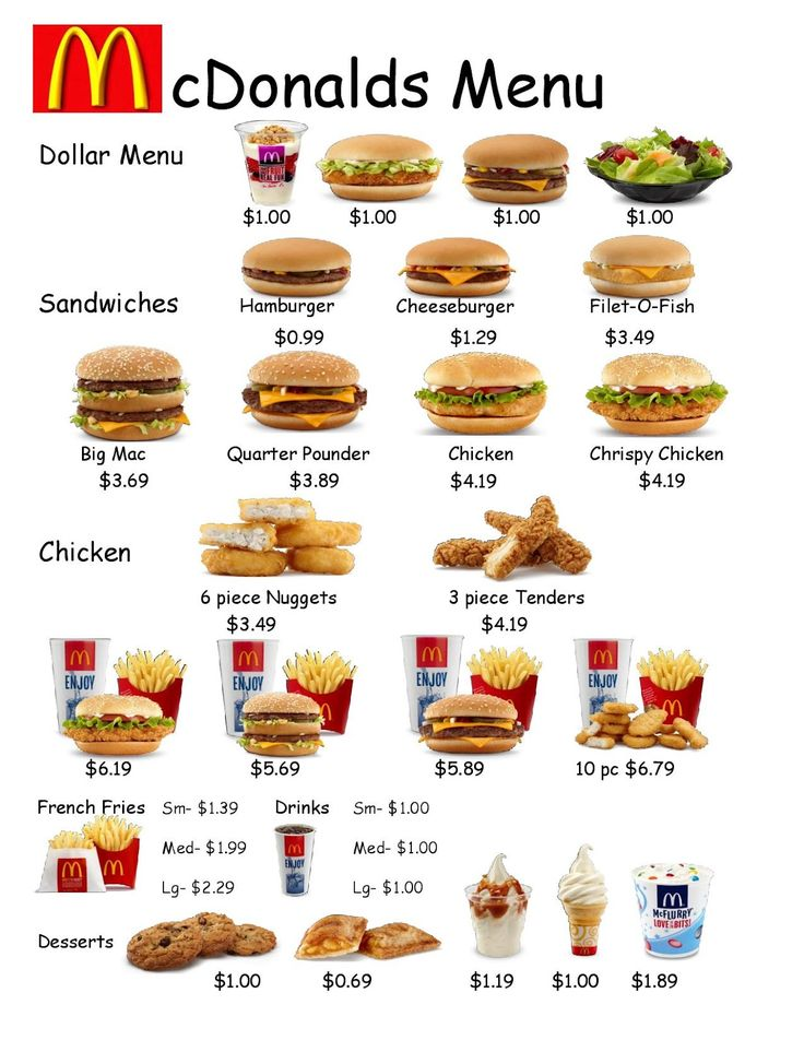 printable food menu
