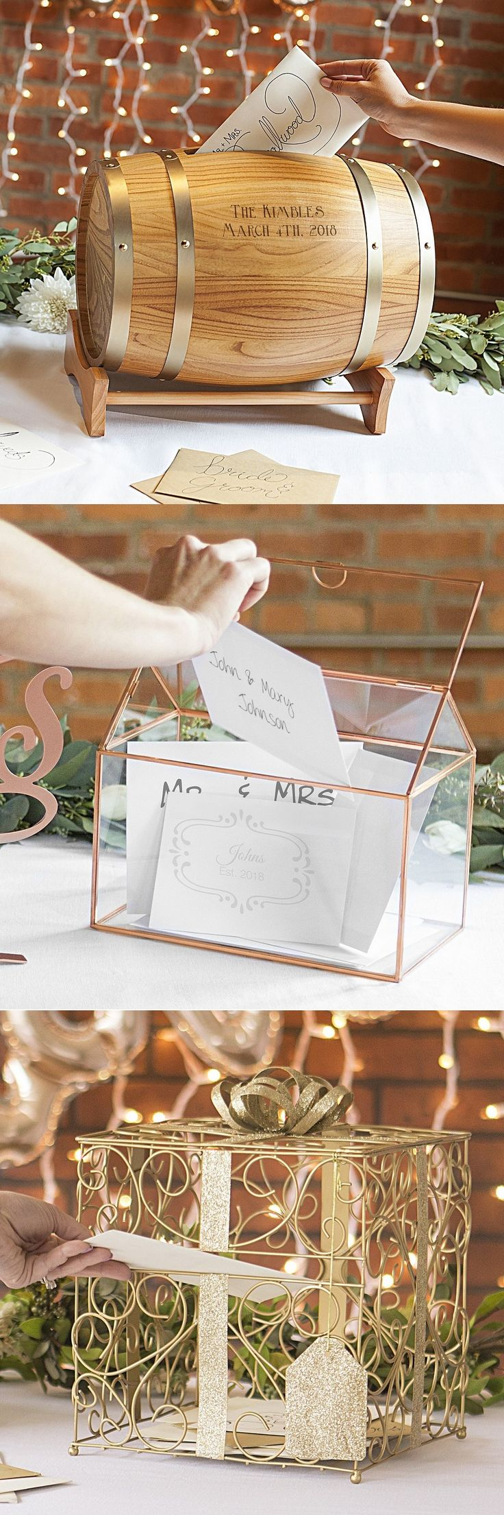 Wedding Gift Card Holder Ideas - When deciding on a gift card holder style that is right for you, consider a unique card box or holder that will add interest to your gift table and can be a useful keepsake to display in your home after the wedding. These gift card holders can be purchased at https://myweddingreceptionideas.com/gift_card_money_holder_boxes.asp