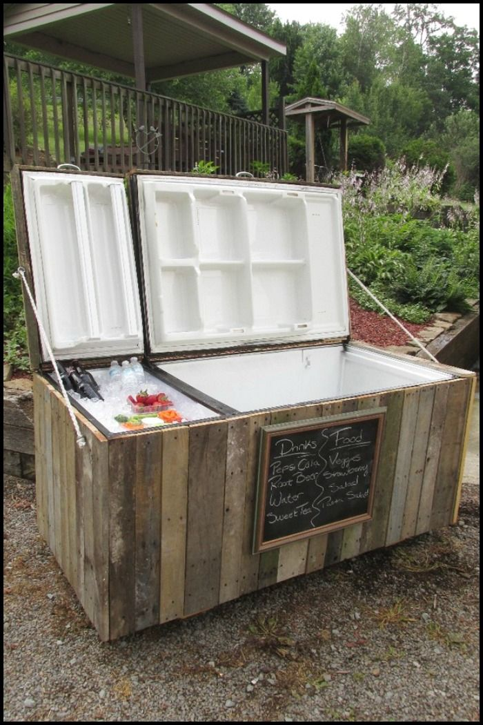 how to turn an old fridge into an awesome rustic cooler recycling ideas pinterest. Black Bedroom Furniture Sets. Home Design Ideas