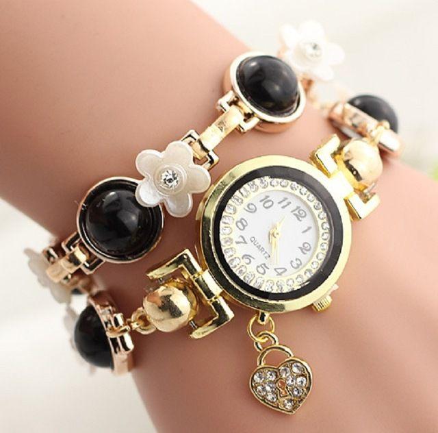 New Fashion Luxury heart flower Pearl Lady Bracelet quartz Watch Women  Dress Watches Women Wristwatches Relogio