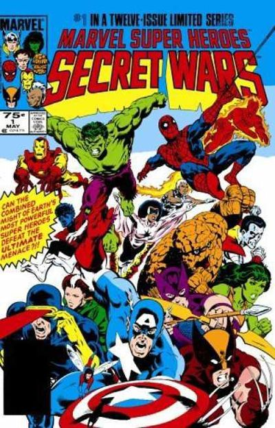 Secret Wars #1 cover illustrated by Mike Zeck. This cover has EVERYONE. Plus I really like the way Zeck draws mouths. Is that weird?