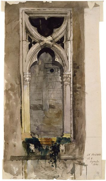 """Watercolour   Ruskin, John   V&A """"Subjects Depicted In 1845 Ruskin made meticulous sketches of details of Venetian architecture, and many (but not this one) were reproduced as illustrations to his book. Ruskin argued that Venetian Gothic architecture was a good example of a flourishing cultural unity, of a kind that had been almost lost in his own day, and he used the exquisite details found in the buildings of Venice to prove his case."""""""