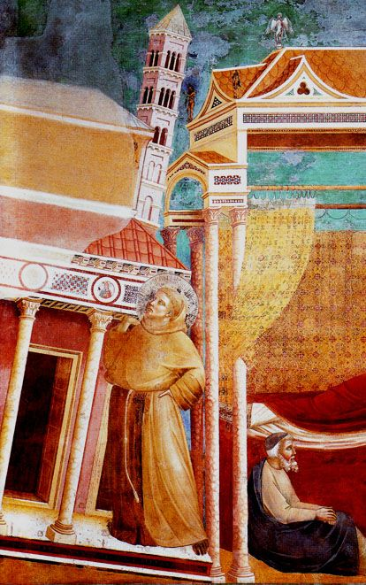 GIOTTO DI BONDONE  (Italian, c. 1267-1337)  Francis as a Pillar of the Church (The Dream of Pope Innocent III)  c. 1296-98  Detail  Fresco  Upper Church of San Francesco, Assisi