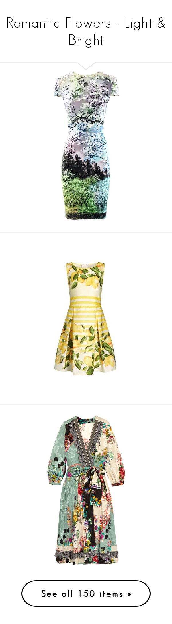"""""""Romantic Flowers - Light & Bright"""" by leptismagna ❤ liked on Polyvore featuring dresses, mary katrantzou, short-sleeve dresses, print dress, green color dress, mixed pattern dress, pattern dress, beige prom dresses, prom dresses and beige dress"""
