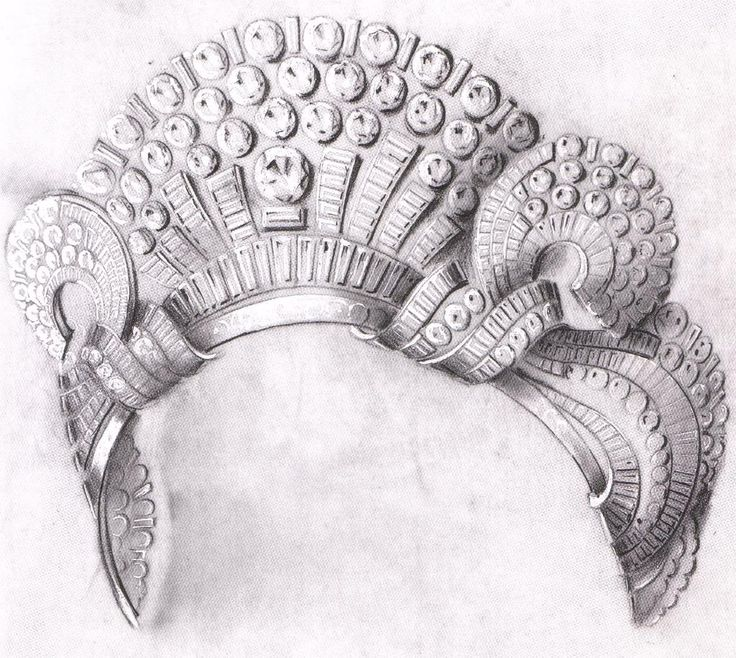 A beautiful sketch for an art deco tiara, by Boucheron, for the Egyptian Royal Family.