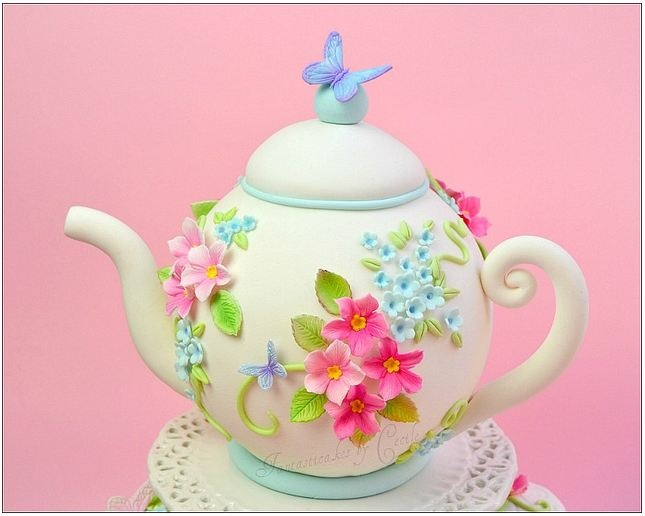 Gorgeous Teapot #Cake with pretty flowers and butterfly! Great #CakeDecorating We love and had to share!