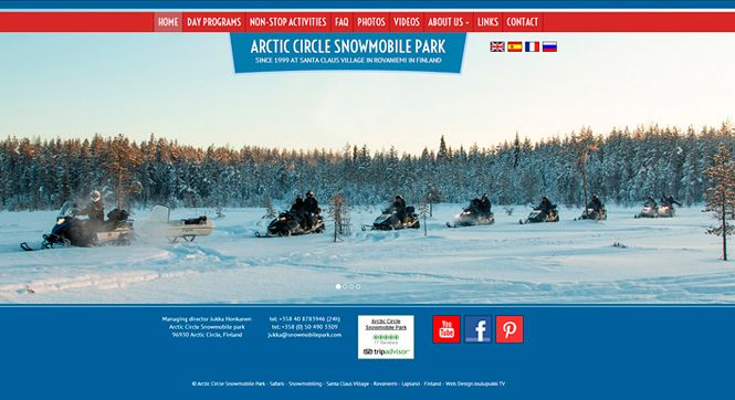 Responsive website for Arctic Circle Snowmobile Park in Rovaniemi in Lapland Finland