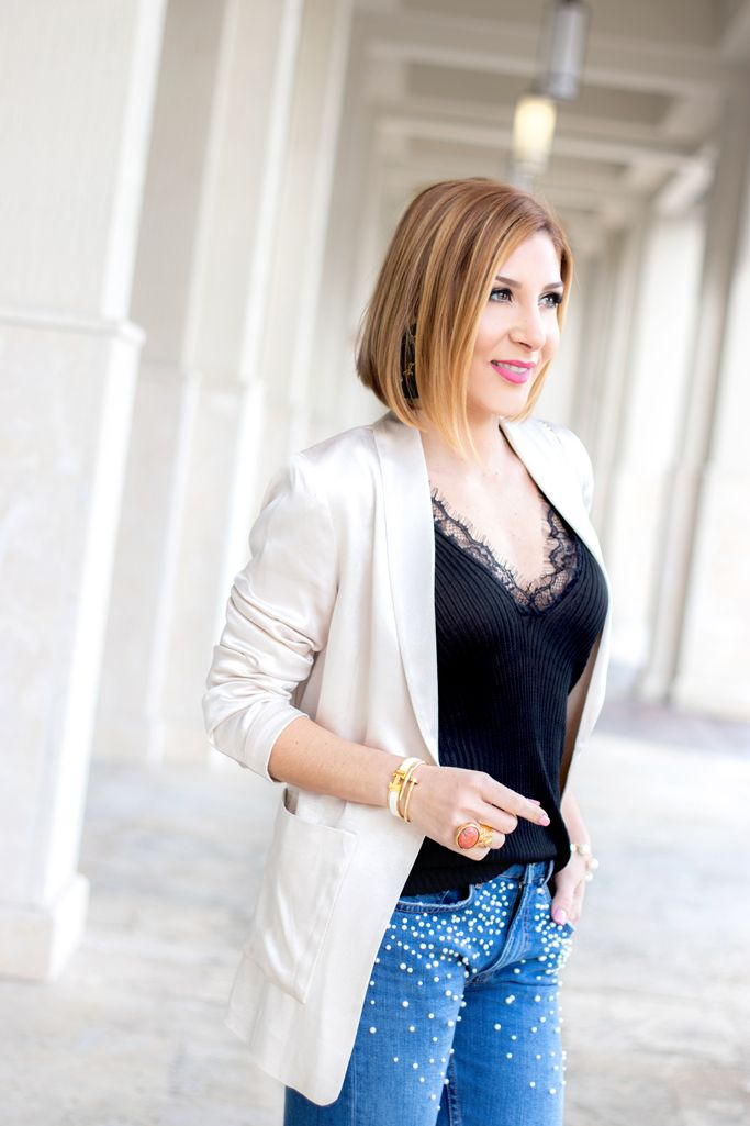 b09ca556e9 Blame it on Mei, @blameitonmei, Miami Fashion Blogger, How To Wear Pearl  Jeans, Lace Cami, Satin Blazer, Trendy and chic way of wearing a lace  camisole, ...