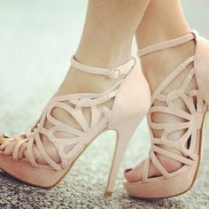 Light pink strap heels