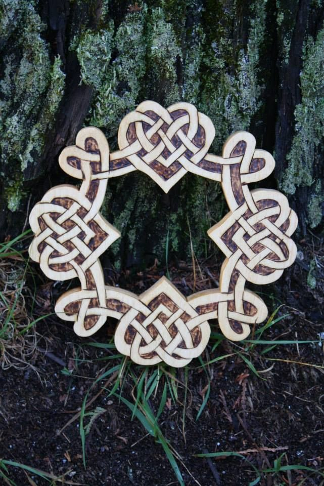 """Handcrafted from select 3/4"""" Canadian Pine, celebrate your love, with the Celtic Four Heart Knots that measures 8"""" x 8"""".  Each piece is lovingly crafted and is done individually, so they are all one of a kind and no two pieces are identical. Each piece is signed and dated."""