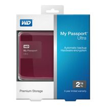 Disco duro portátil Western Digital My Passport Ultra 2 TB, USB 3.0 cherry