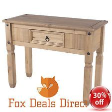 Hall Console Table PREMIUM Corona 1 Drawer Storage Rustic Mexican Pine  Furniture