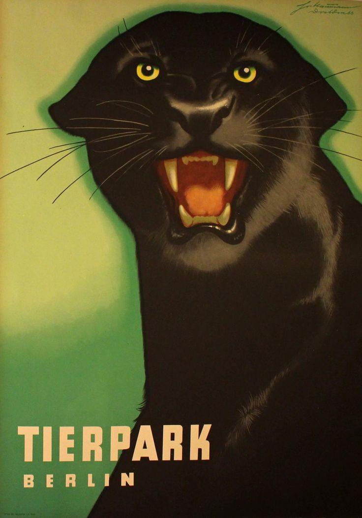 Perfect Original Poster For Berlin Zoo Tierpark Berlin Black Panther By Naumann