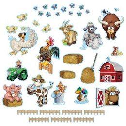 Boerderij decoraties Boerderij cutouts -  Een set met 40 decoraties van boerderij figuren. Leuk voor een verjaardag, boerderij themafeest, of gewoon als decoratie in een kinderkamer. Aan beide zijden bedrukt! Afmetingen: 2.5cm tot 26cm.