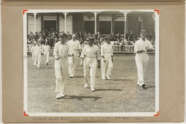Collins leads Australia onto the field at Lords for the 2nd Test v England, 1926. From the Sydney Smith collection, Mitchell Library, State Library of New South Wales: http://www.acmssearch.sl.nsw.gov.au/search/itemDetailPaged.cgi?itemID=846432