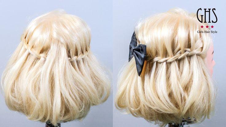 ゆるふわボブ:編み込みミディアムハーフアップヘアアレンジ