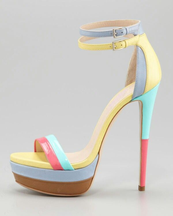 Amazing Yellow Leather Upper Platform Stiletto Heels Women Sandals I would  never be able to walk in these, but the colors are so fun!
