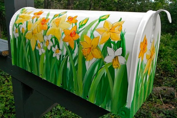 Hand Painted Mailbox with Yellow Daffodils amid Green Foliage $75
