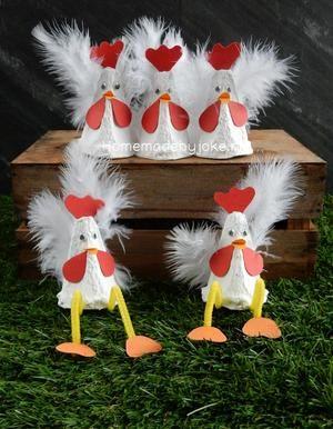 Kippen van een eierdoos maken. Leuk om te knutselen voor Pasen. Een DIY staat op mijn blog Homemade by Joke.