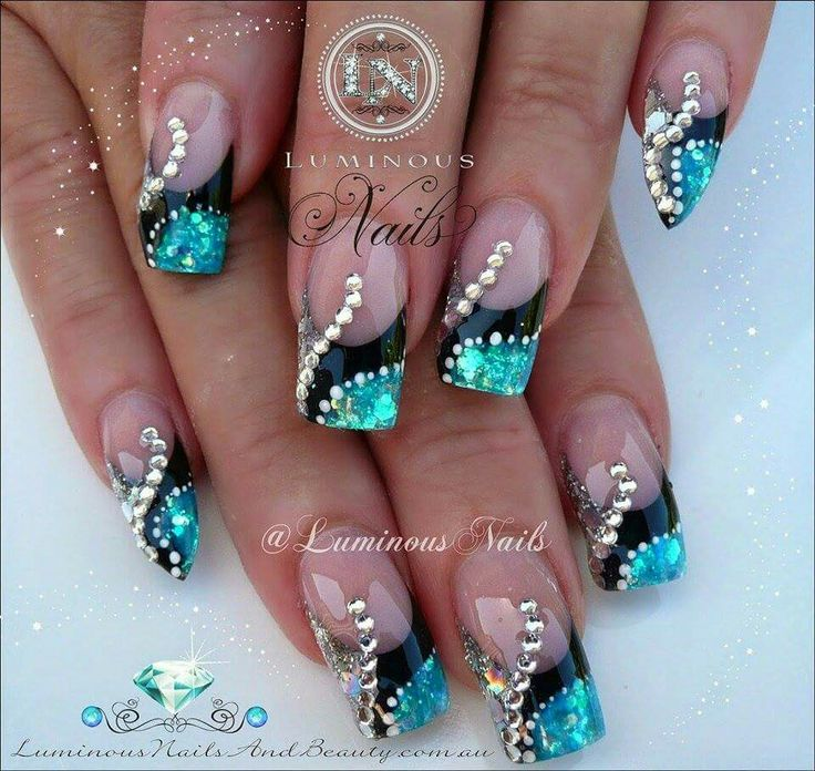 turquoise and black nails