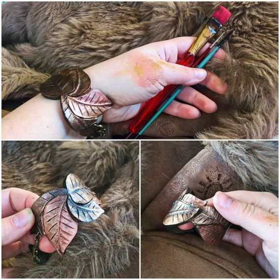 LEATHER LEAVES BRACELET by 2Towers on Etsy