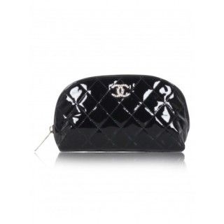 CHANELBlack Quilted SHW Small MakeUp Case