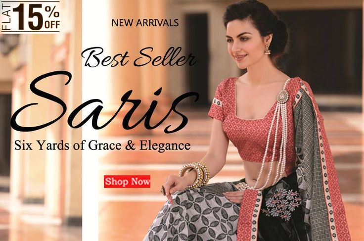 Shop the all new collection of sarees @ FLAT 15% OFF... #flat15off #newarrivals #sarees #collection