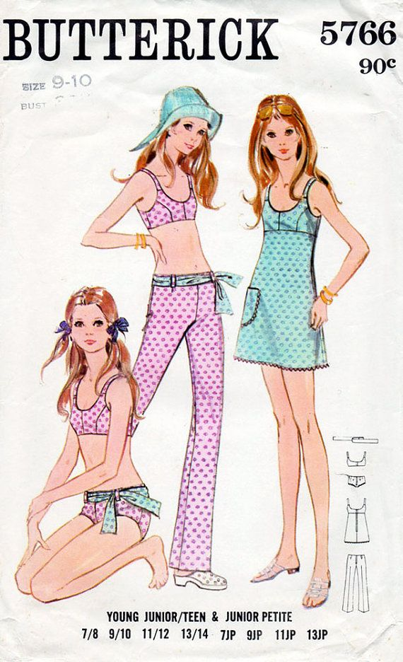 1960s Bikini Pants & Scoop Neck Dress Pattern by BessieAndMaive