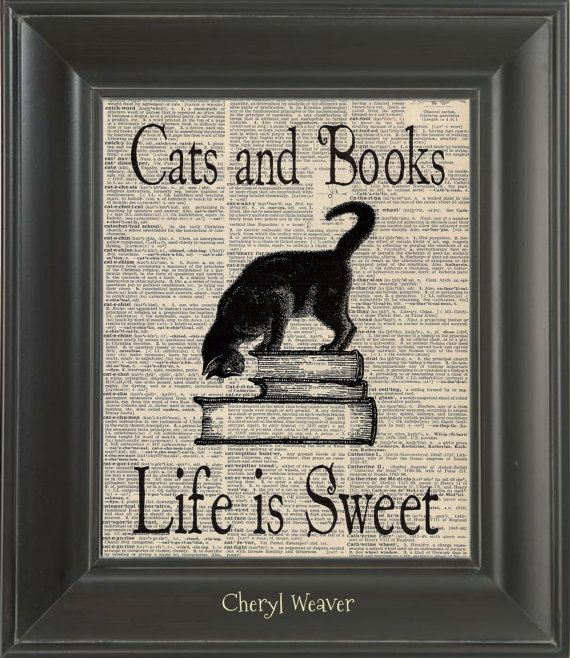 Vintage Dictionary Page Cats and Books Life Is Sweet Unframed  Upcycle Art Vintage Graphic 8 x 10 via Etsy