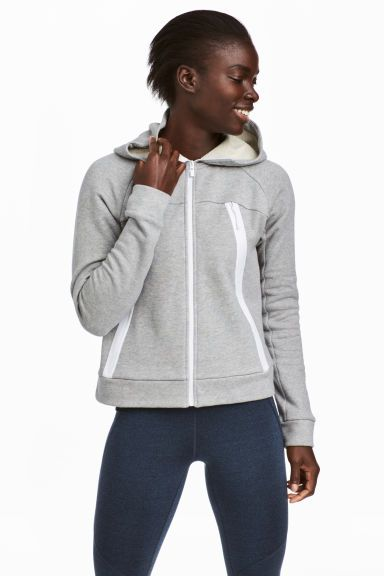 Outdoor jacket with a hood - Light grey marl - Ladies | H&M GB 1