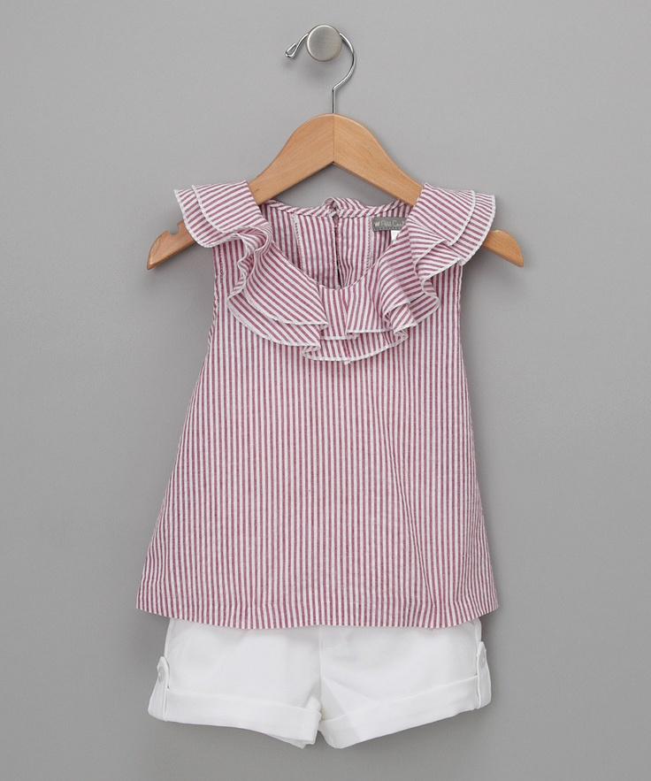 Red & White Pinstripe Top & Shorts - Toddler