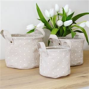 3 linen polka dot storage bins | Bliss and Bloom Ltd