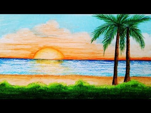 How to draw sea beach scenery.Step by step (easy draw ...