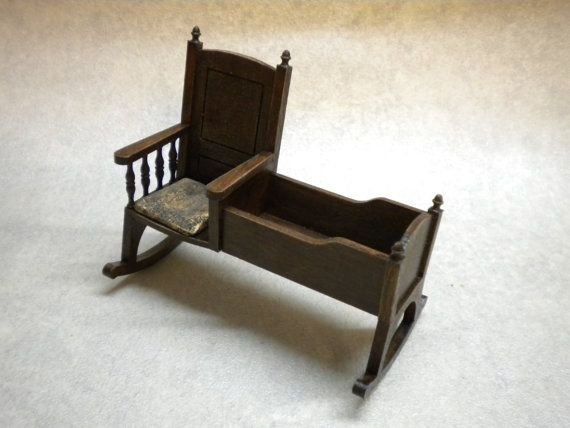 One Inch Doll House Nursery Chair Cradle by FirecraftMiniatures