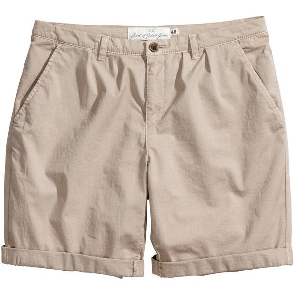 H&M Chino shorts (140 EGP) ❤ liked on Polyvore featuring shorts, pants, beige, beige shorts, h&m shorts and chino shorts