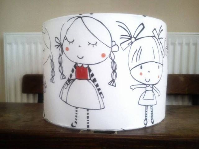 Little girls fabric covered lampshade www.facebook.com/lindaoriordandesigns