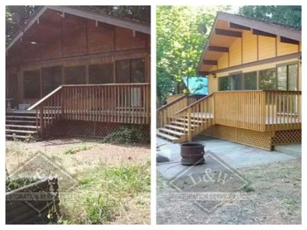 Before & After photo of a Cabin Restoration Project at Cultus Lake. This was a fairly large project which included pressure washing the exterior of the cabin, shed and exposed concrete. The roof was full of debris, branches, leaves, moss. The cabin was left alone for about 4 years with no maintenance. We gave the exterior a complete wash down, full coat of primer and two coats of finish. The results from before to after are amazing. This unit was rented out within 5 days after completion…