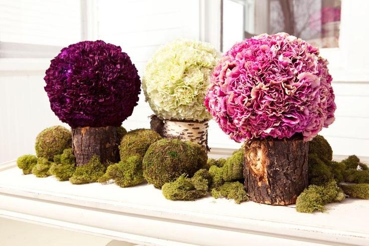 Carnation Balls - naturalCenterpieces Ideas, Floral Design, Balloons Wall, Gowns Ideas, Parties Ideas, Tables Ideas, Carnations Ball, Flower Arrangementscenterpiec, Floral Art