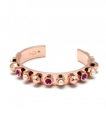 Brazalete con clavos y pernos con cristales de Swarovski y perlas 23ct oro rosa plateado Longitud de 5.5cm