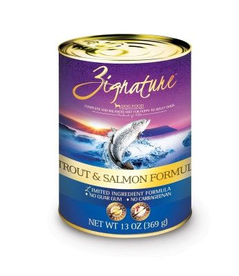 ZIGNATURE CANNED DOG FOOD - ZIGNATURE TROUT/SALMON - 12/13OZ - Pets Global - UPC: 888641131259 - DEPT: OTHER PET FOODS