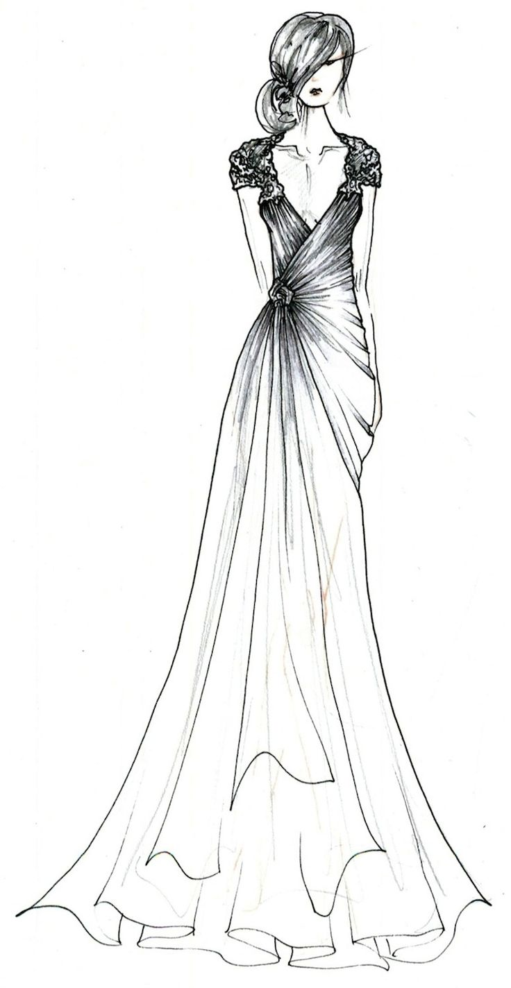 Fashion designer dress sketches black