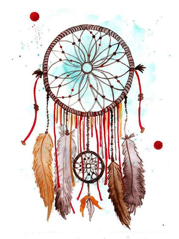 Dream Catcher #2, oficina de impresión de la pintura de acuarela Original - arte nativo americano de pared - decoración y decoración para el hogar