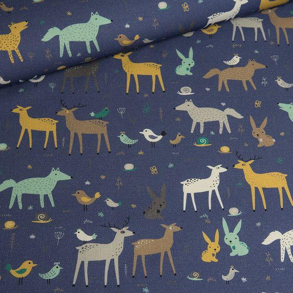 Bawełna 100% Leśne zwierzęta nocą - mcolors - Tkaniny dla dzieci